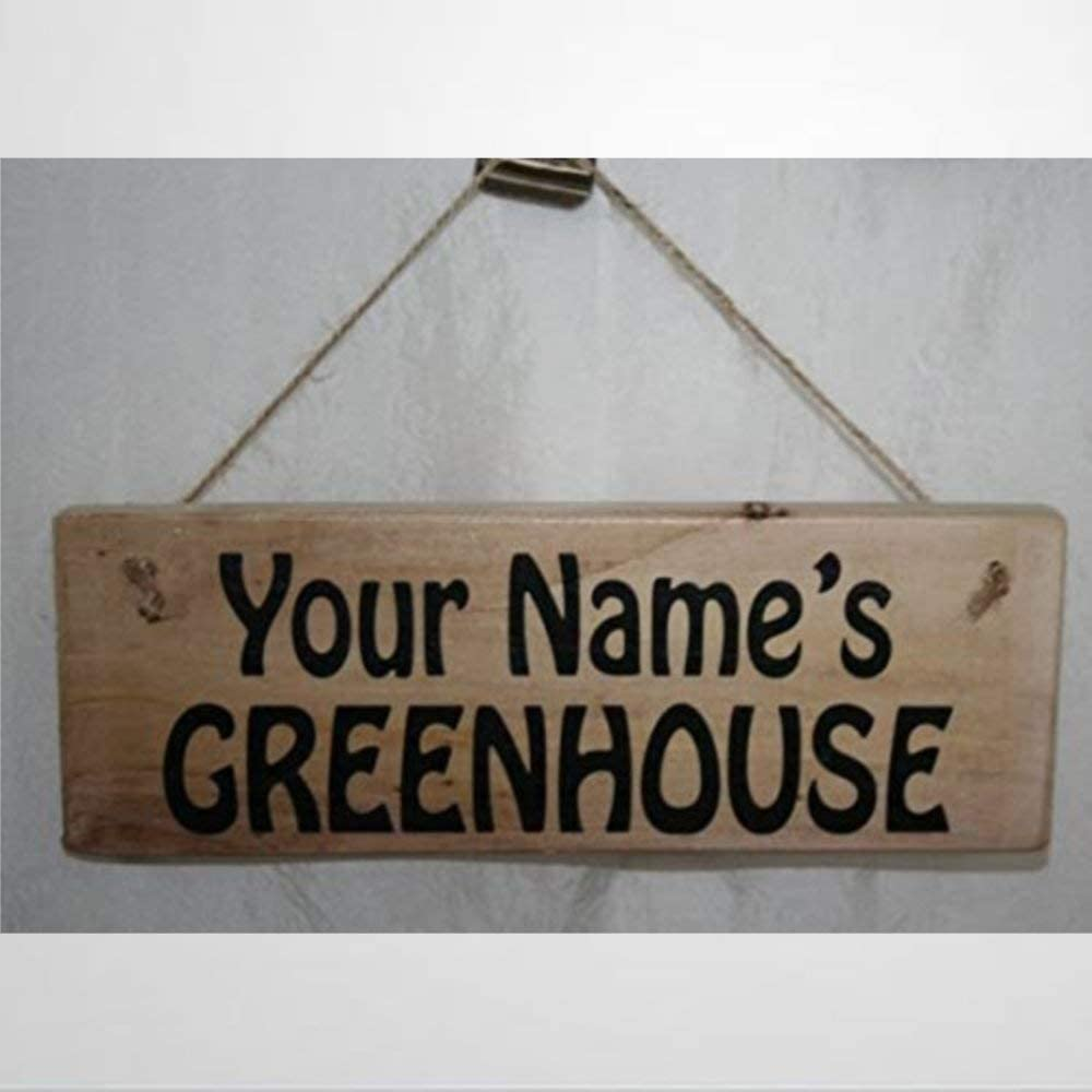 BYRON HOYLE Garden Sign Personalised Your Name Greenhouse Funky Print Wood Outdoor Gardening Potting Shed Rescued Reclaimed Wooden Sign Wood Plaque Wall Art Wall Hanger Home Decor