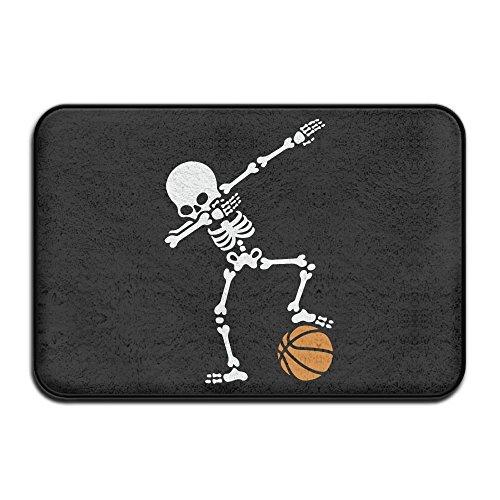 Dab Dabbing Skeleton Basketball Antislip Outings Doormat Standing Rug (Rainbow Basketball Latex)