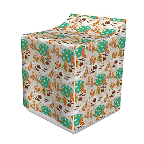 Ambesonne Baby Washer Cover, Little Foxes Playing Next to Ponds Forest Tree Trunks Catching Fish Having Fun, Washroom Decor with Dust Protection, 29