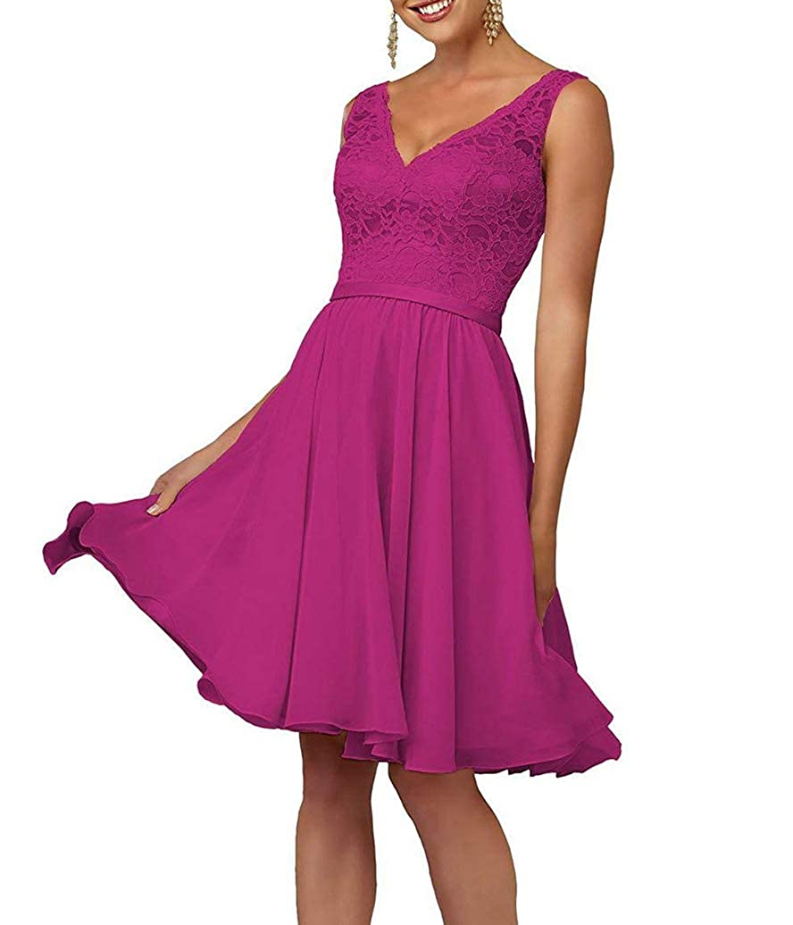 Fuchsia Short VNeck Homecoming Dresses for Women Juniors Party Prom Gown Lace Bodice