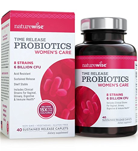 NatureWise Women's Probiotics w/ Cranberry & D-Mannose, Equal to 90 Billion CFU, Delivers 15x More Live Cultures for Urinary Tract, Digestive & Immune Health, Shelf Stable, Acid Resistant, 40 Caplets