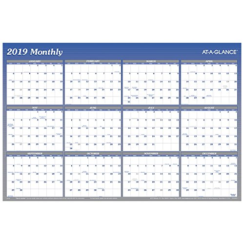 AT-A-GLANCE 2019 Yearly Wall Calendar / Planner, 36 x 24, Large, Erasable, Reversible, Horizontal/Vertical, Blue (A1102)