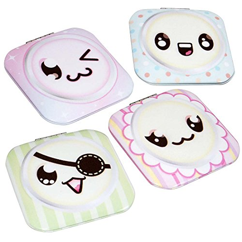 BMC 4pc Womens Various Shaped Assorted Design Compact Pocket Mirror