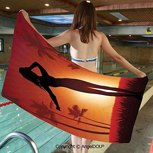 AngelDOU Lightweight Large Comfortable Microfibre Towel Silhouette of Female Human Body in The Sunshine of Exotic Lands Image Print Sports Travel Accessories Bath Towel.W13.7xL27.5(inch)