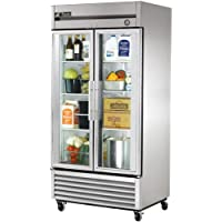 True T-Series Glass 2-Door 6-Shelf Reach-In Refrigerator, 35 CF