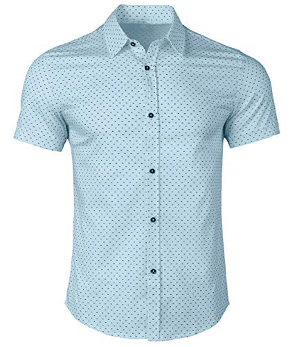- WULFUL Men's Casual Short Sleeve Button Down Shirt Printed Cotton Business Dress Shirts ...