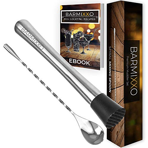 Cocktail Drink Muddler and Spoon By BARMIXXO - Bartender Muddle Mix Tools for Mojitos, Caipirinha & Old Fashioned. Craft Perfect Cocktails At Home with Stainless Steel Bar Ware Kit/150+ Recipe Ebook
