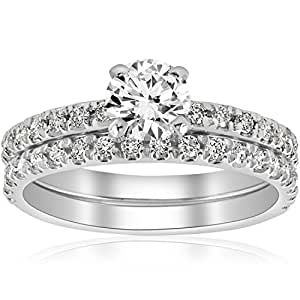 1 1/4ct Diamond Engagement Wedding Ring French Pave Set 14k White Gold