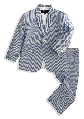 Cotton Seersucker Suit (G288 Boys Seersucker 2 Button Suit Set (5, Navy))