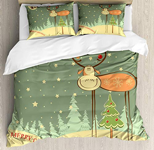 (LanimioLOX Mississippi Duvet Cover Set, Childish Style Cartoon Deer and Xmas Tree Santa with Merry Christmas Typography, Decorative 3 Piece Bedding Set with 2 Pillow Shams, Multicolor King)
