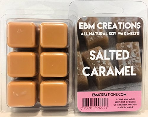 Salted Caramel - Scented All Natural Soy Wax Melts - 6 Cube Clamshell 3.2oz Highly Scented! -