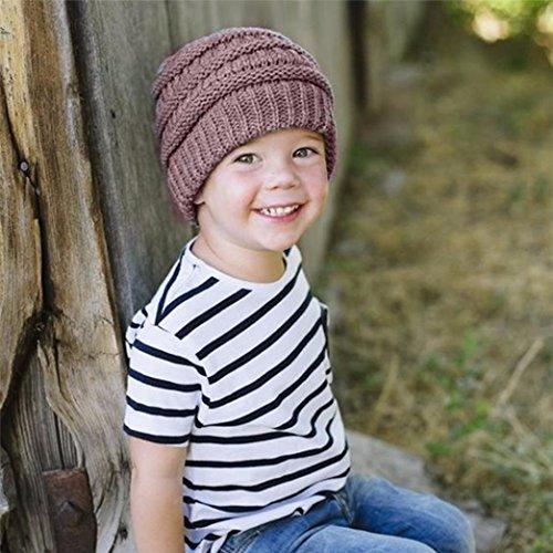 Honhui Baby Boy Girls Knit Hat Winter Warm Crochet Wool Ski Beanie Skull Slouchy Cap (C)