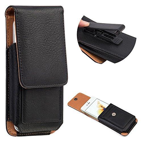 Premium PU Leather Vertical Case Holster with Belt Clip for Samsung Galaxy Note 8 / Galaxy S8 Active / Motorola Moto G5s / E4 Plus / LU Studio J8 / Grand XL / BLU Vivo 8 / Alcatel Idol 5S (Black)