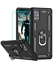 LeYi for Samsung Galaxy A51 Cell Phone Case with Screen Protector Ring Kickstand for Men Military Grade Bumper Hard TPU Heavy Duty Shockproof Full Body Silicone Protective Cover for Galaxy A51 Black