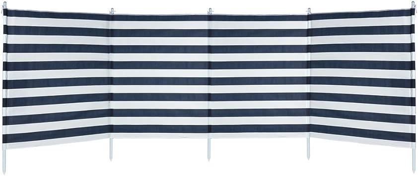 Aktive - Paravientos 4 paneles rayas azules, 3.2 x 2.5 x 1.24 m