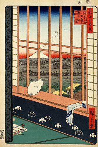 (Wooden Japanese Jigsaw Puzzle - Hiroshige, Asakusa Rice Fields (Cat in Window) - 416 Unique Wooden Pieces - Made in The USA by Nautilus Puzzles - Challenge Any Puzzle Lover)