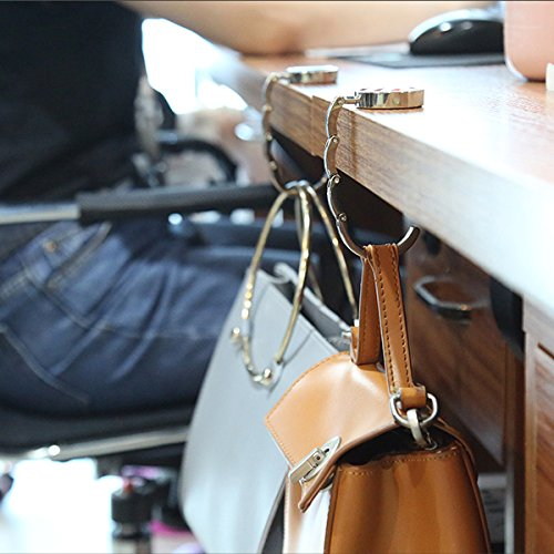 Valentines Day Pink Cute Smile Face Hearts Table Hook Folding Bag Desk Hanger Foldable Holder