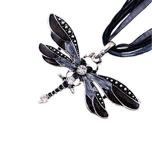 AKOAK Fashion Creative Bohemian Jewelry Ethnic Multi-layer Chain Colorful Enamel Dragonfly Pendant Necklace?Black?