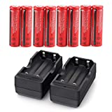 YJJ 8 Pack 4000mAh Rechargeable Batteries 3.7V Li-on Battery with 2 Pack Charger(Button Top,NOT AA)