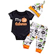 Emmababy Baby Boys Girls Christmas Romper My 1st Halloween Bodysuit and Pants Winter Outfit (0-6M, Black)