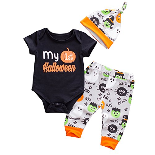 Emmababy Baby Boys Girls Christmas Romper My 1st Halloween Bodysuit and Pants Winter Outfit (0-6M, Black) -