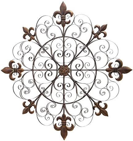 Medallion Twisted Metal Scroll Design Wall Art 14 Inch Round Hand Crafted