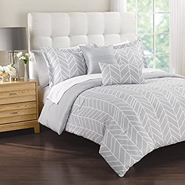 Patrician 1C01506 Lauren Comforter Set, King, Grey