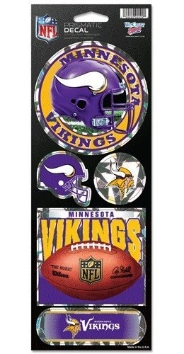 Holographic Cracked Ice Design Minnesota Vikings 5 Pack of Stickers
