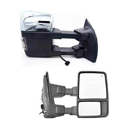 CHROME POWER TOWING MIRRORS+SMOKE SIGNAL TELESCOPING FOR 99-07 FORD F SUPER DUTY