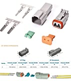 Deutsch 2-Pin (3 Completed Set) Connector Kit with Housing, Pins & Seals Crimp Style Terminals 14-16 Gauge, Recommended Insulation O.D. Range: 2.41 - 3.81 (mm)