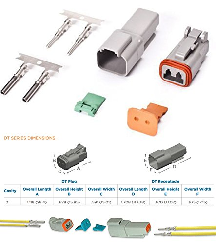 (Deutsch 2-Pin (3 Completed Set) Connector Kit with Housing, Pins & Seals Crimp Style Terminals 14-16 Gauge, Recommended Insulation O.D. Range: 2.41 - 3.81 (mm))