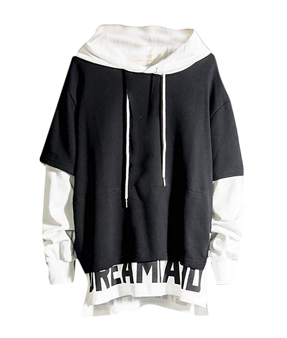 GAGA Men Classic-Fit Casual Cozy Hoodie Fake Two Pieces Pullover Sweatshirts