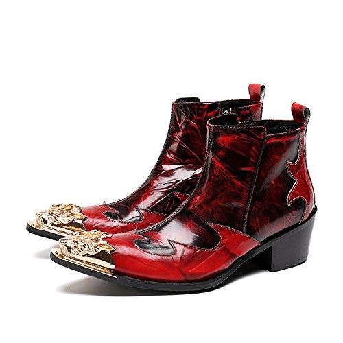 Botas para hombre Personalidad de los hombres de punta estrecha motocicleta vaquero botines de cuero genuino con cremallera zapatos de peluquería ...