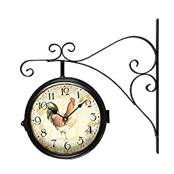 Adeco Wrought Iron Nostalgic Vintage-Inspired Train Railway Station Style Round Beige Rooster Double-Sided Iron Wall Clock with Scroll Wall Mount