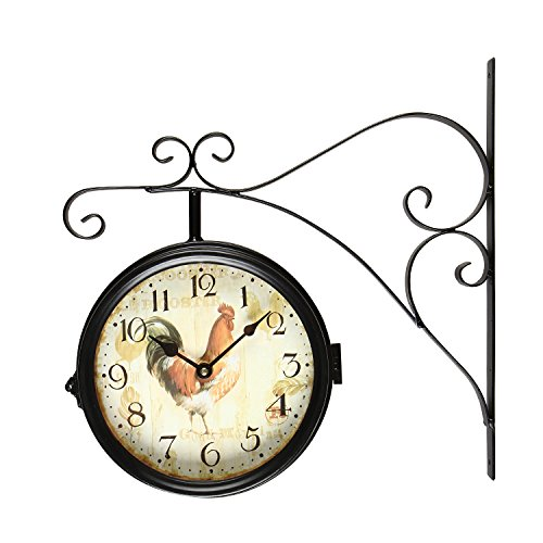 (Adeco CK0001 【Sale Wrought Iron Nostalgic Vintage-Inspired Train Railway Station Style Round Beige Rooster Double-Sided Iron Wall Clock with Scroll Wall Mount, Black, Off-White)