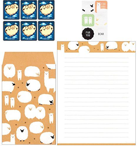 Cute-Kawaii-Japanese-School-Supplies-Sheep-Alpaca-Animal-Envelope-and-Stickers-Letter-Writing-Stationery-for-Kids