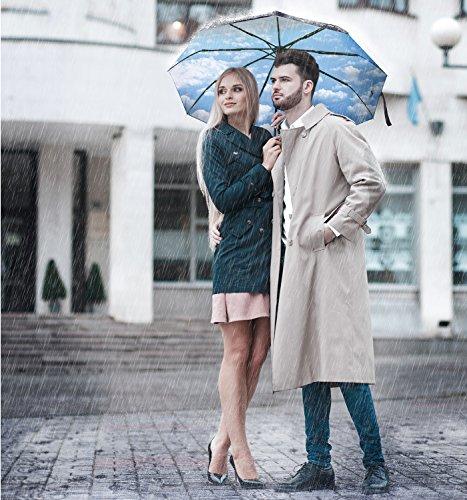 Repel Windproof Travel Umbrella With Teflon Coating Blue