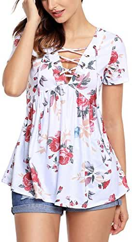 Alvaq Womens Summer Short Sleeve V Neck Floral Print Lace Up Blouses Top