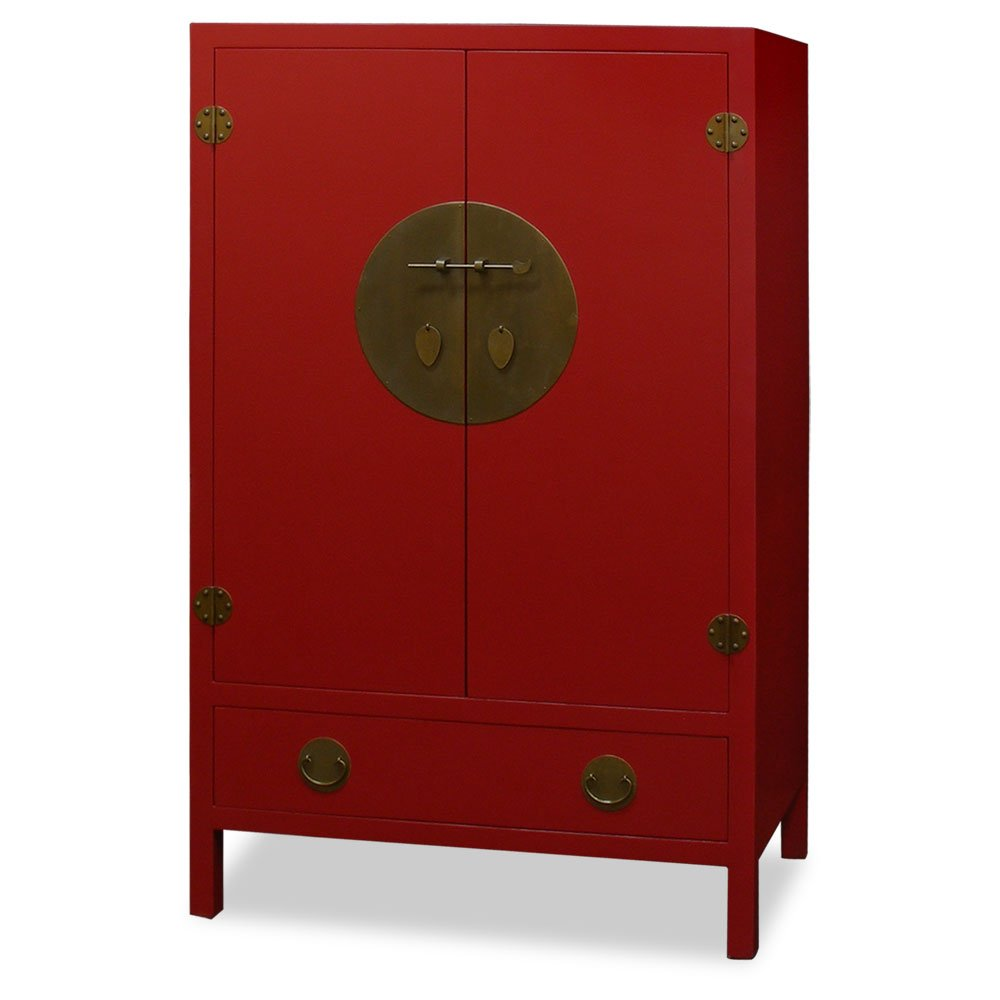 China Furniture Online Elmwood Armoire, Ming Style Tall Cabinet Matte Red Finish