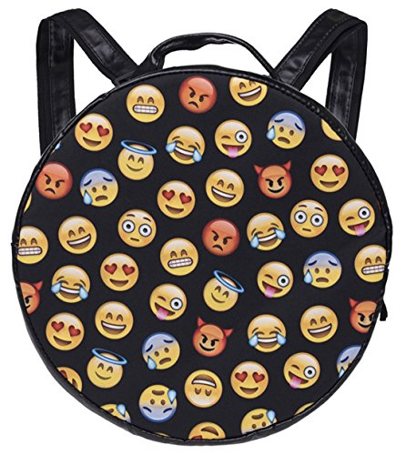 Kukubird Emoji Design nero modello zaino quadrato