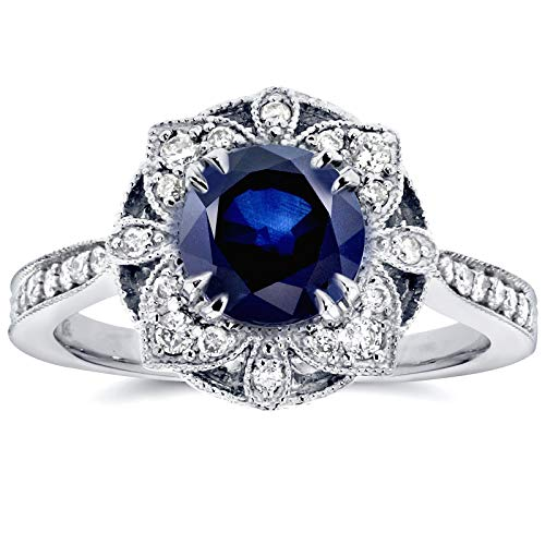 - Antique Floral Sapphire and Diamond Engagement Ring 1 1/2 Carat (ctw) in 14k White Gold, Size 9.5
