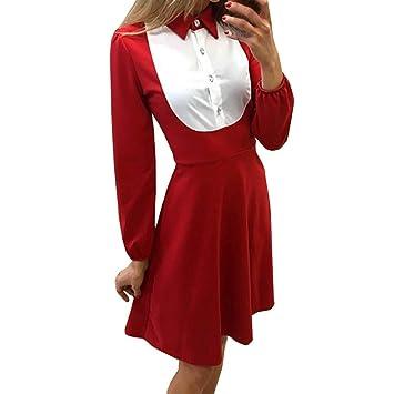 Vestido de manga larga para mujer con estampado de encaje y ...