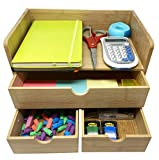 Natural Bamboo Wooden Office Desk Organizer & Mail