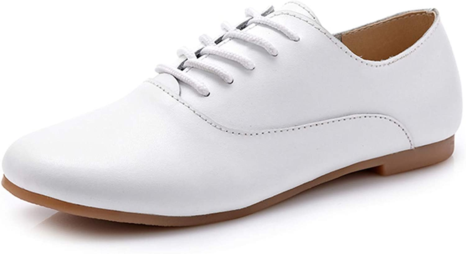 Spring Women Oxford Shoes Flats Shoes Women Genuine Leather Shoes Moccasins Lace Up White Shoes 051