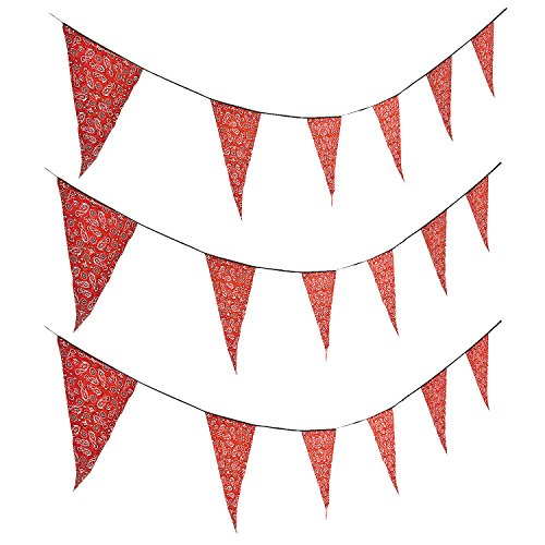 Fun Express - Red Bandana Print Pennant Banner (100ft) - Party Decor - Hanging Decor - Pennants - 1 Piece