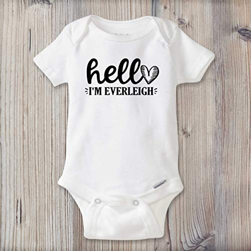 - PERSONALIZED Baby Girl Name Bodysuit, Newborn Take Home Outfit, Custom Baby Shower Gift, Birth Announcement, Hello I'm