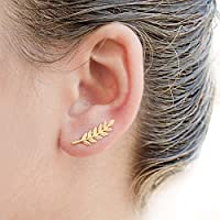 Fashion New Gold Silver Climber Leafs Sweep Wrap Ear Stud Cuff Hook Earrings