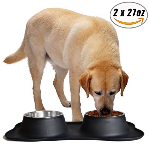 Easeurlife Stainless Steel Dog Bowl Medium 2 x 27oz No Spill/Non-Skid Silicone Mat Double Pet Bowls Set for Medium Dogs, Each Bowl 800ml, Black