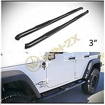 "WIN-2X 2pcs 3"" Round Tube Black Carbon Steel Side Step Nerf Bars Running Boards + Brackets + Installation Instruction Fit 07-18 Jeep Wrangler JK 4-Door"