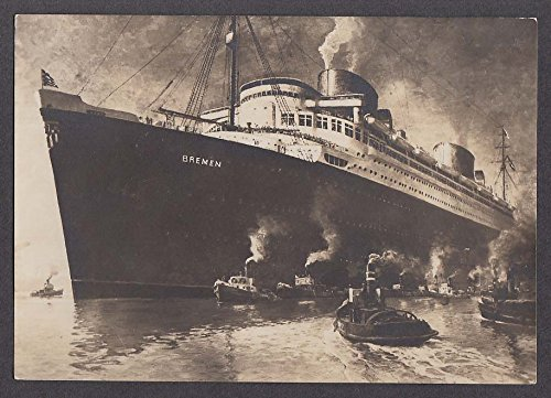 Norddeutscher Lloyd steamer Bremen ocean liner RPPC postcard 1930
